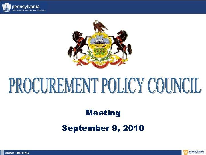 Meeting September 9, 2010