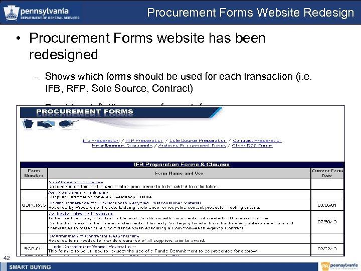 Procurement Forms Website Redesign • Procurement Forms website has been redesigned – Shows which