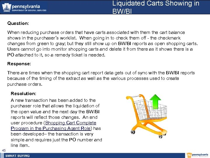 Liquidated Carts Showing in BW/BI Question: When reducing purchase orders that have carts associated