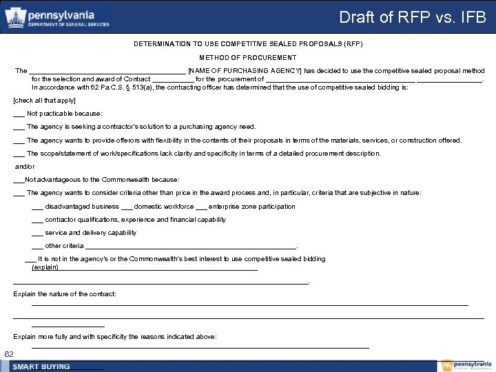 Draft of RFP vs. IFB DETERMINATION TO USE COMPETITIVE SEALED PROPOSALS (RFP) METHOD OF