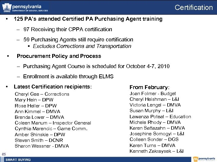Certification • 125 PA's attended Certified PA Purchasing Agent training – 97 Receiving their