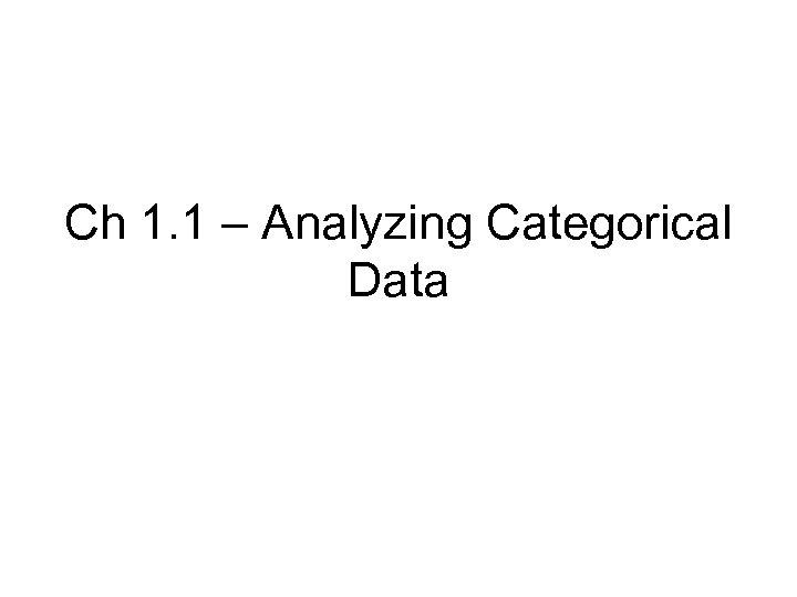 Ch 1. 1 – Analyzing Categorical Data