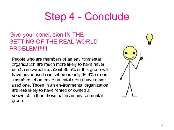 Step 4 - Conclude Give your conclusion IN THE SETTING OF THE REAL-WORLD PROBLEM!!!!!!