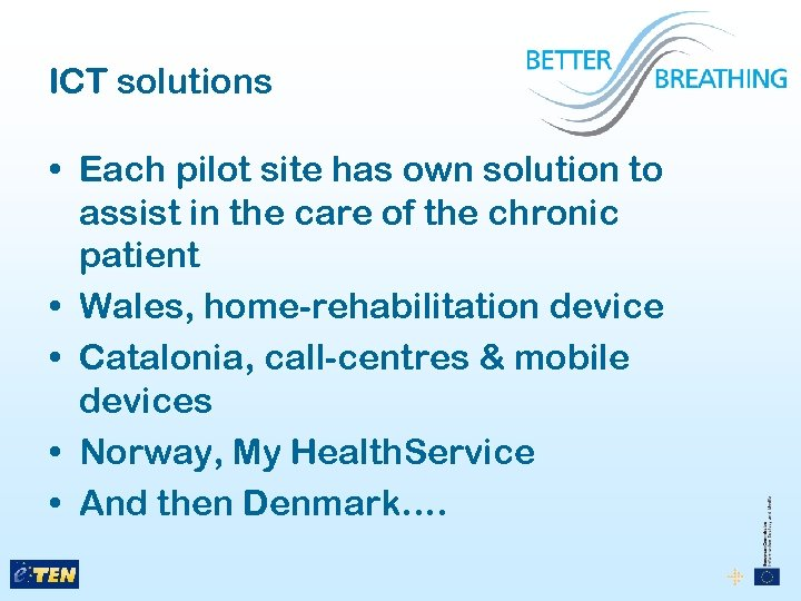 ICT solutions • Each pilot site has own solution to assist in the care