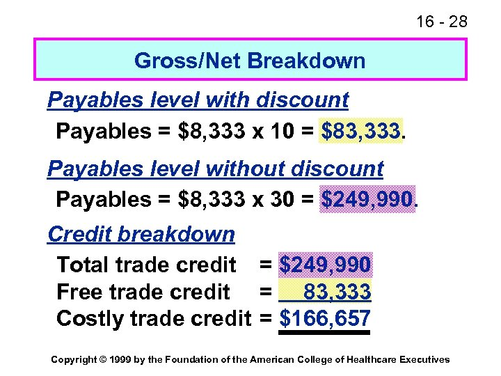 16 - 28 Gross/Net Breakdown Payables level with discount Payables = $8, 333 x