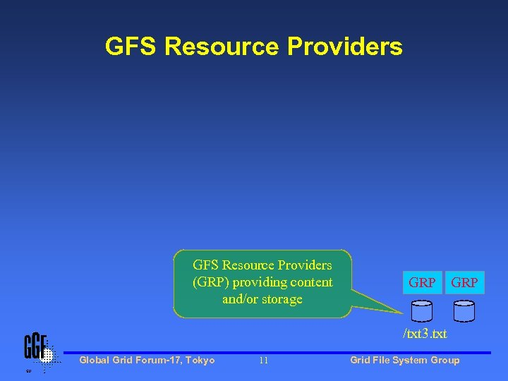 GFS Resource Providers (GRP) providing content and/or storage GRP /txt 3. txt Global Grid