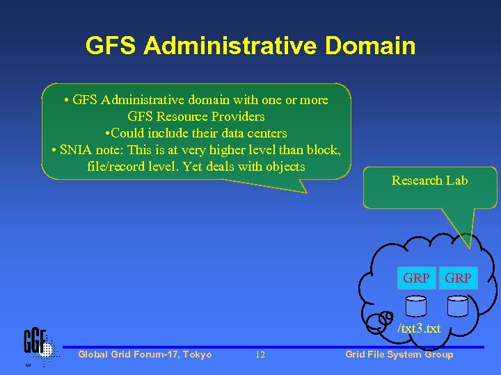 GFS Administrative Domain • GFS Administrative domain with one or more GFS Resource Providers