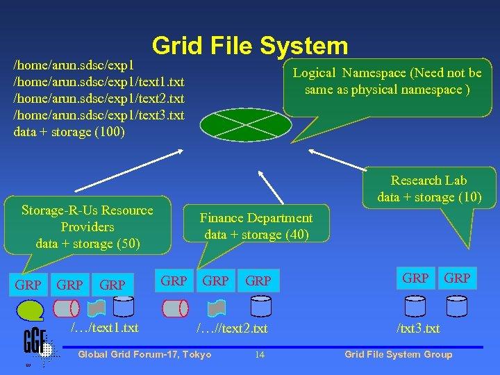 Grid File System /home/arun. sdsc/exp 1/text 1. txt /home/arun. sdsc/exp 1/text 2. txt /home/arun.