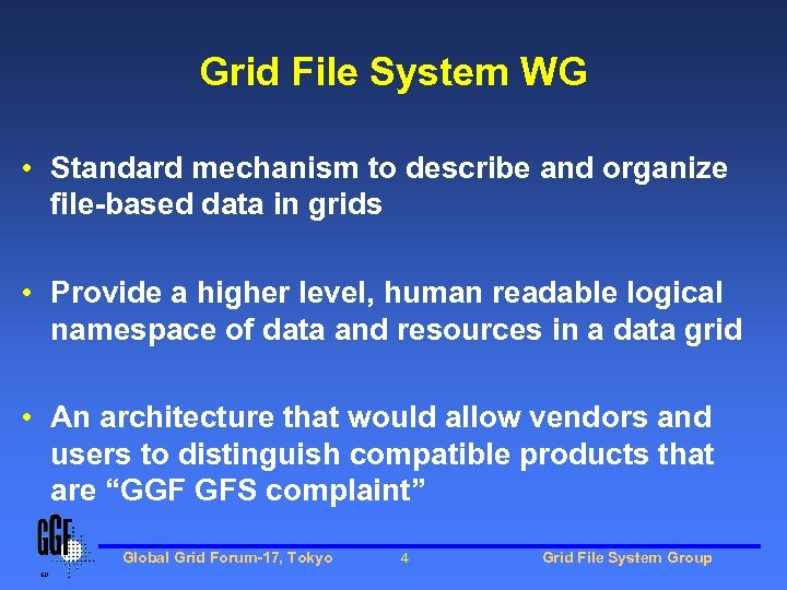 Grid File System WG • Standard mechanism to describe and organize file-based data in
