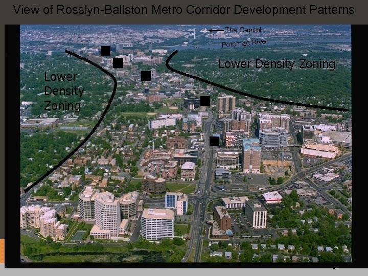 View of Rosslyn-Ballston Metro Corridor Development Patterns The Capitol r Potomac Rive M Lower