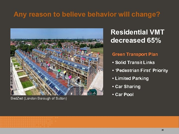 Any reason to believe behavior will change? Residential VMT decreased 65% Green Transport Plan