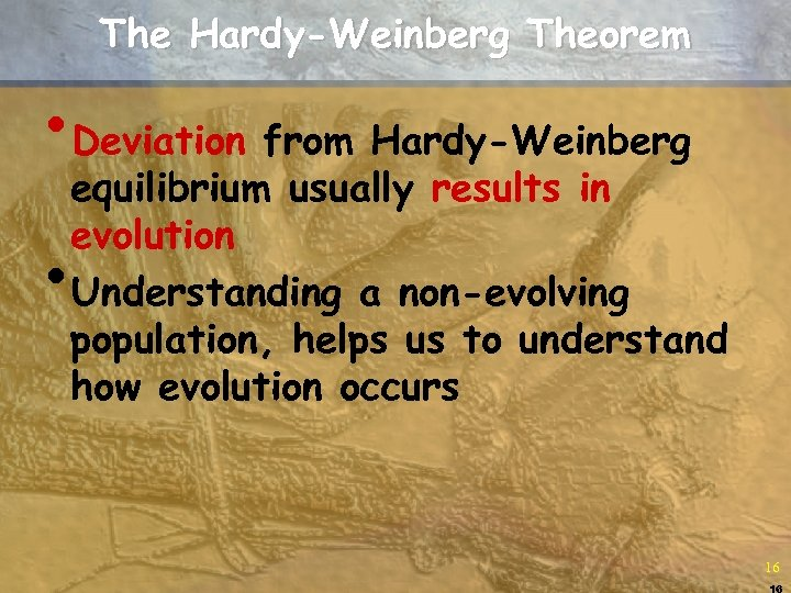The Hardy-Weinberg Theorem • Deviation from Hardy-Weinberg equilibrium usually results in evolution Understanding a