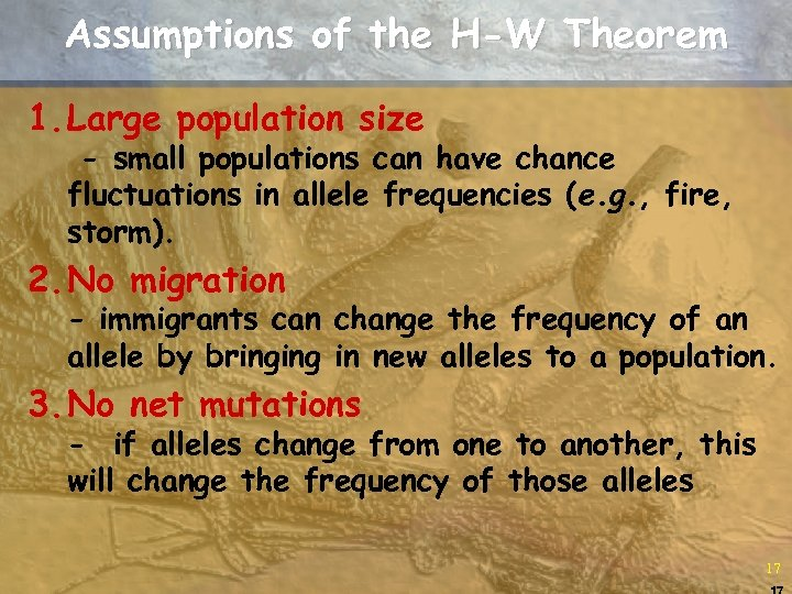 Assumptions of the H-W Theorem 1. Large population size - small populations can have
