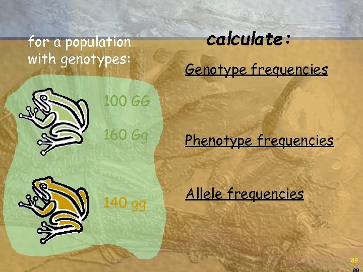 for a population with genotypes: calculate: Genotype frequencies 100 GG 160 Gg 140 gg