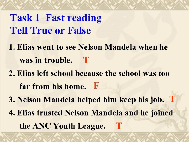 Task 1 Fast reading Tell True or False 1. Elias went to see Nelson