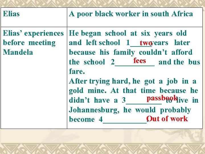 Elias A poor black worker in south Africa Elias' experiences He began school at
