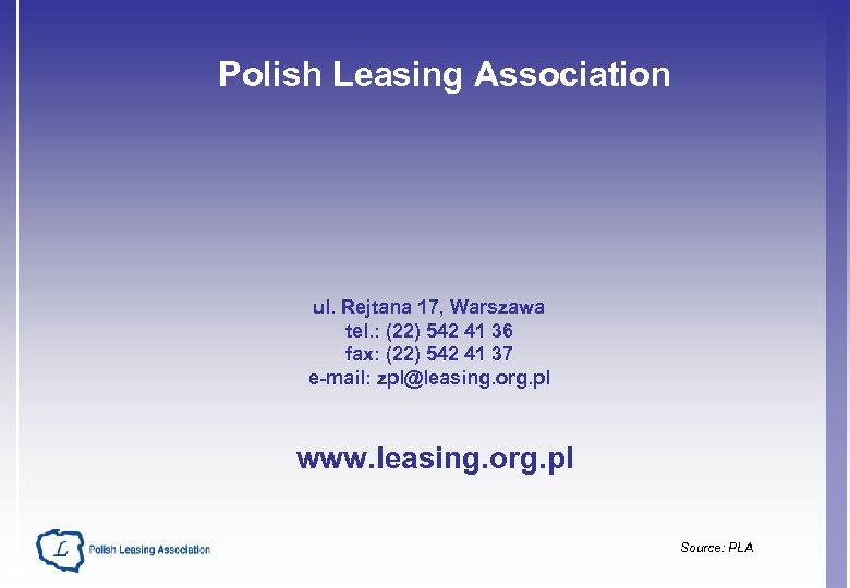 Polish Leasing Association ul. Rejtana 17, Warszawa tel. : (22) 542 41 36 fax:
