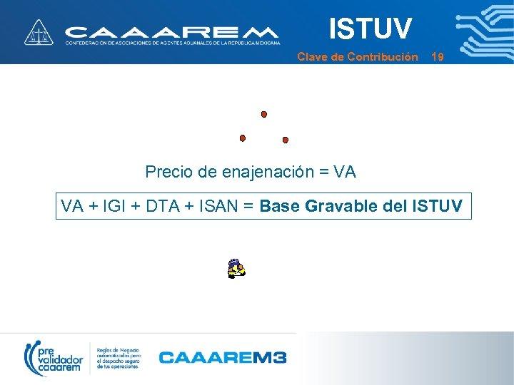 ISTUV Clave de Contribución 19 Precio de enajenación = VA VA + IGI +