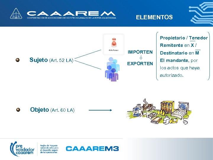 ELEMENTOS Propietario / Tenedor Remitente en X / Sujeto (Art. 52 LA) IMPORTEN ó