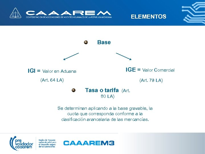 ELEMENTOS Base IGI = Valor en Aduana IGE = Valor Comercial (Art. 64 LA)