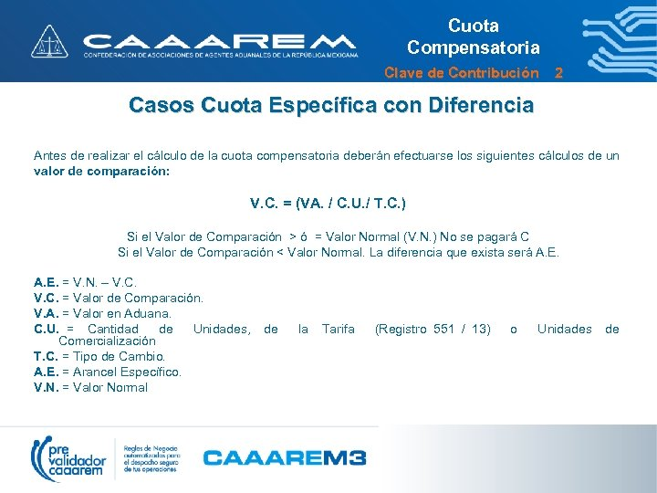 Cuota Compensatoria Clave de Contribución 2 Casos Cuota Específica con Diferencia Antes de realizar