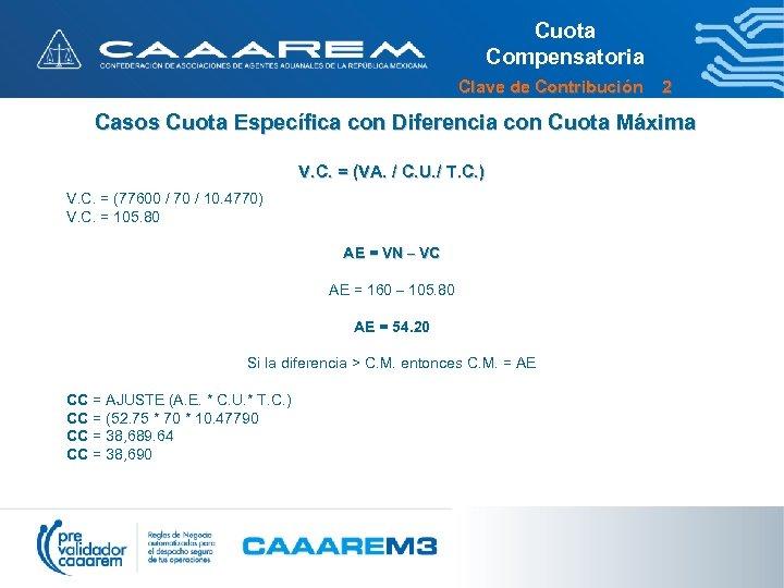 Cuota Compensatoria Clave de Contribución 2 Casos Cuota Específica con Diferencia con Cuota Máxima