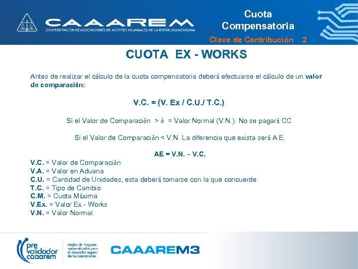 Cuota Compensatoria Clave de Contribución 2 CUOTA EX - WORKS Antes de realizar el