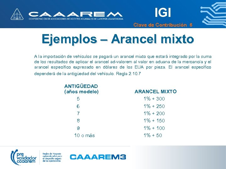 IGI Clave de Contribución 6 Ejemplos – Arancel mixto A la importación de vehículos