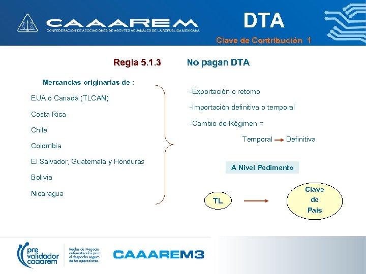 DTA Clave de Contribución 1 Regla 5. 1. 3 No pagan DTA Mercancías originarias