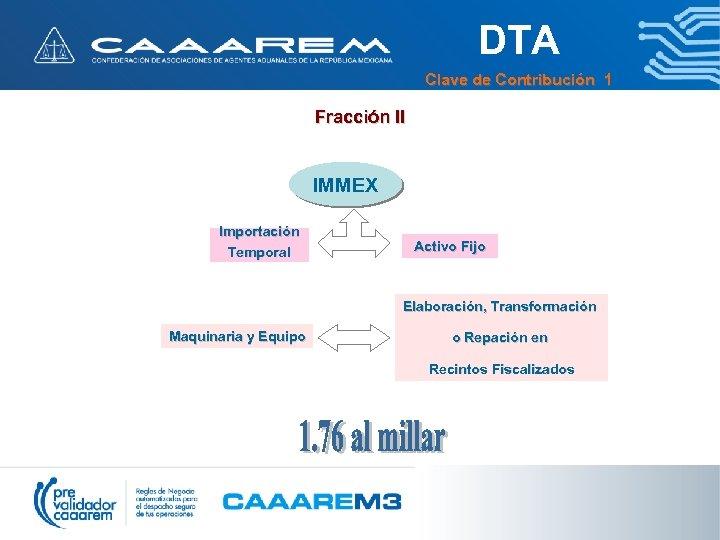 DTA Clave de Contribución 1 Fracción II IMMEX Importación Temporal Activo Fijo Elaboración, Transformación