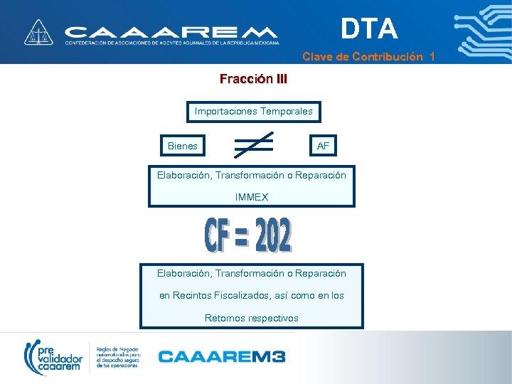 DTA Clave de Contribución 1 Fracción III Importaciones Temporales Bienes AF Elaboración, Transformación o