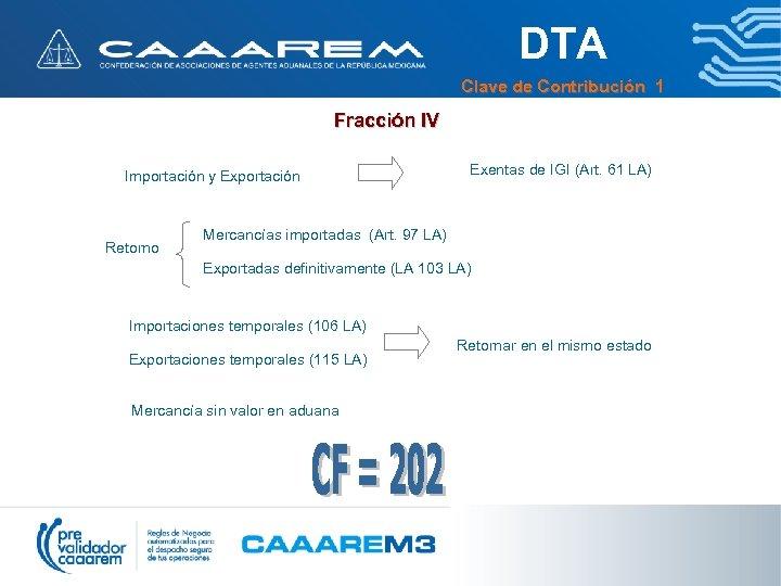 DTA Clave de Contribución 1 Fracción IV Importación y Exportación Retorno Exentas de IGI