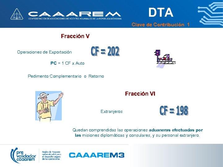 DTA Clave de Contribución 1 Fracción V Operaciones de Exportación PC = 1 CF