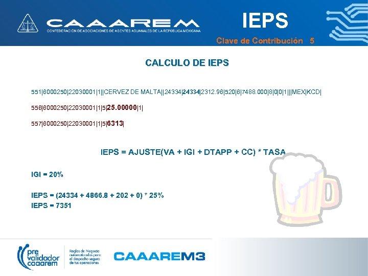IEPS Clave de Contribución 5 CALCULO DE IEPS 551|6000250|22030001|1||CERVEZ DE MALTA||24334|2312. 96|520|6|7488. 000|8|0|0|1|||MEX|KCD| 556|6000250|22030001|1|5|25.