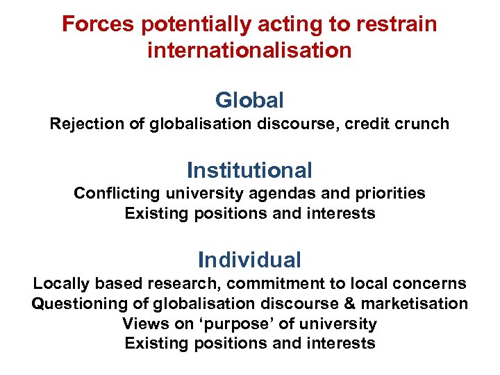 Forces potentially acting to restrain internationalisation Global Rejection of globalisation discourse, credit crunch Institutional