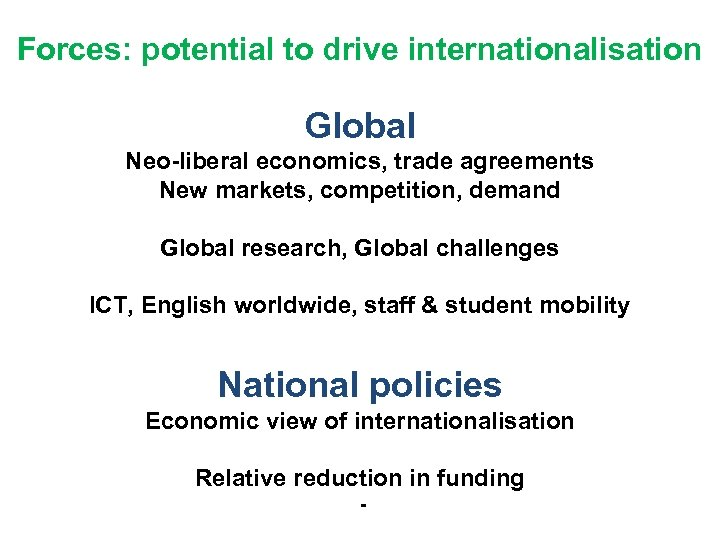 Forces: potential to drive internationalisation Global Neo liberal economics, trade agreements New markets, competition,