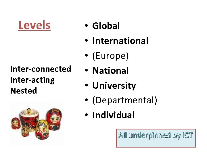 Levels Inter-connected Inter-acting Nested • • Global International (Europe) National University (Departmental) Individual All