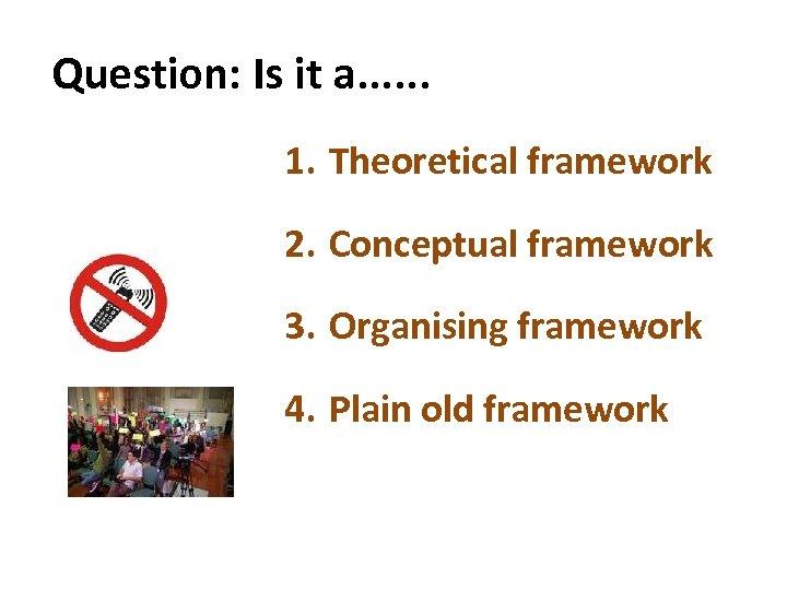 Question: Is it a. . . 1. Theoretical framework 2. Conceptual framework 3. Organising