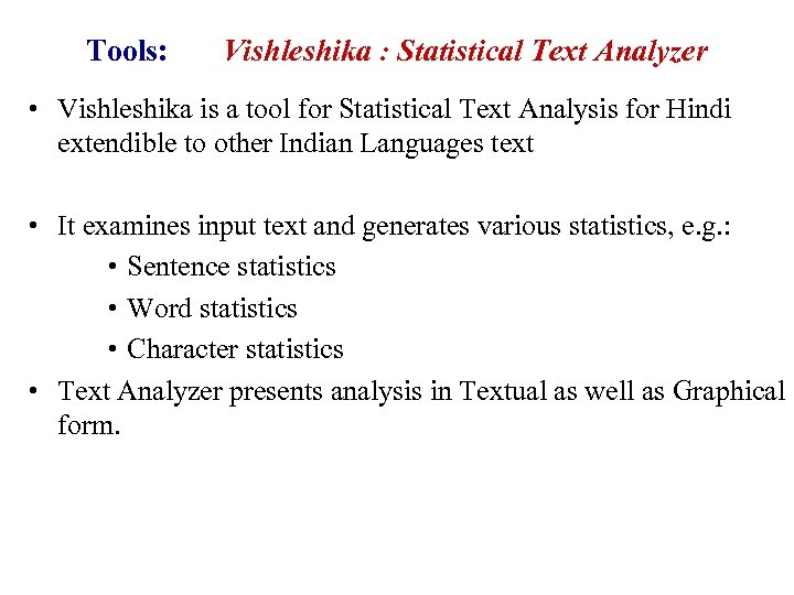 Tools: Vishleshika : Statistical Text Analyzer • Vishleshika is a tool for Statistical Text