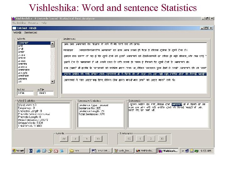 Vishleshika: Word and sentence Statistics