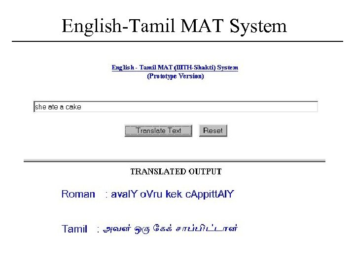 English-Tamil MAT System