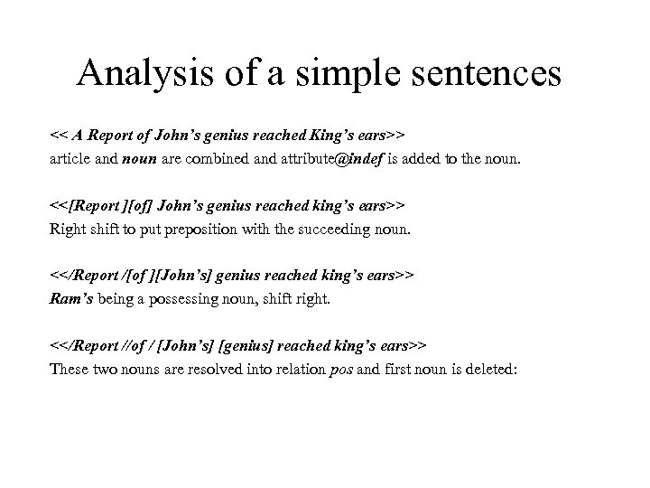 Analysis of a simple sentences << A Report of John's genius reached King's ears>>
