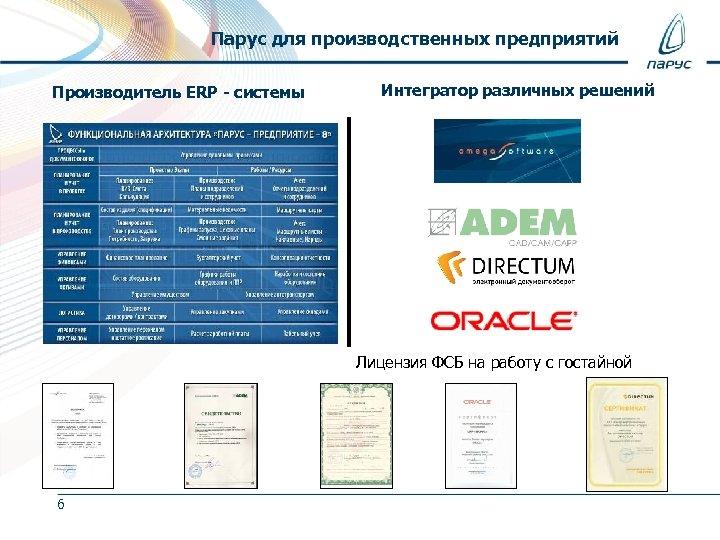 Парус для производственных предприятий Производитель ERP - системы Интегратор различных решений Лицензия ФСБ на