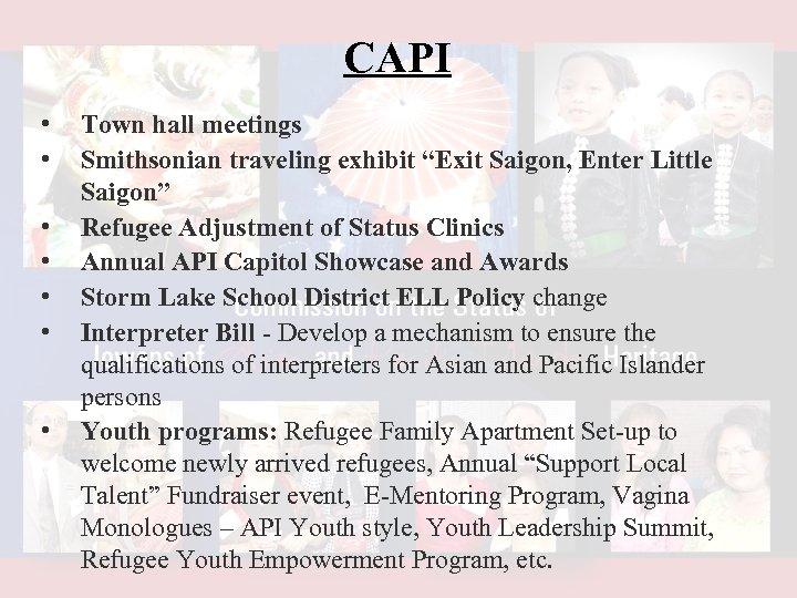 """CAPI • • Town hall meetings Smithsonian traveling exhibit """"Exit Saigon, Enter Little Saigon"""""""