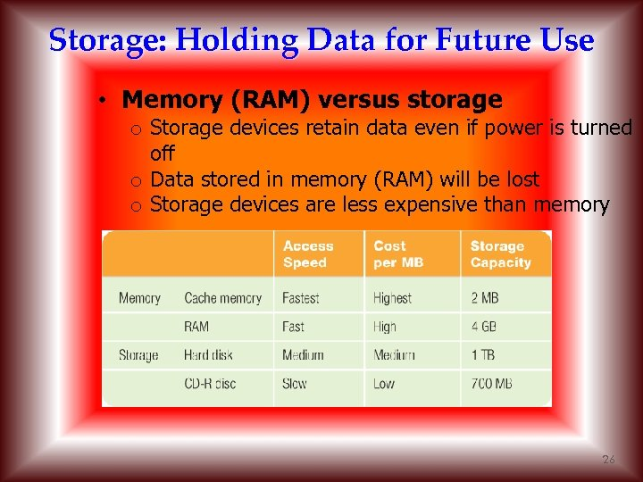 Storage: Holding Data for Future Use • Memory (RAM) versus storage o Storage devices