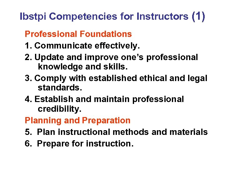 Ibstpi Competencies for Instructors (1) Professional Foundations 1. Communicate effectively. 2. Update and improve