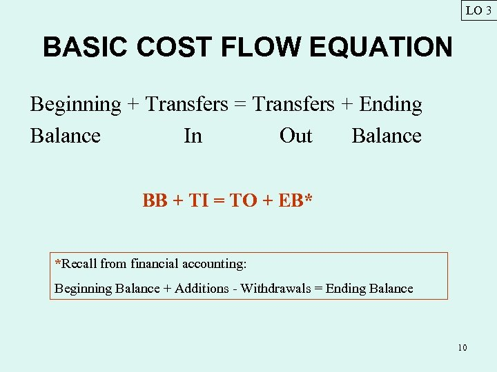 LO 3 BASIC COST FLOW EQUATION Beginning + Transfers = Transfers + Ending Balance