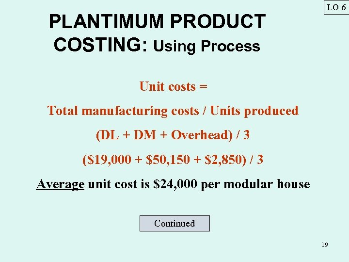 PLANTIMUM PRODUCT COSTING: Using Process LO 6 Unit costs = Total manufacturing costs /