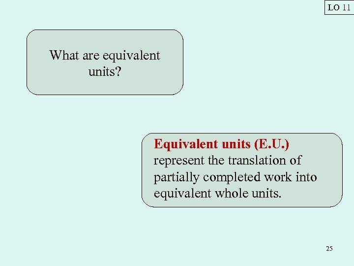 LO 11 What are equivalent units? Equivalent units (E. U. ) represent the translation