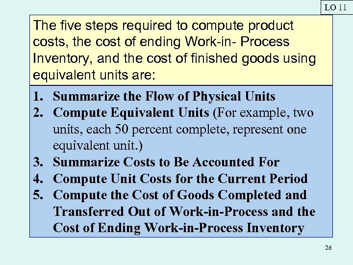 LO 11 The five steps required to compute product costs, the cost of ending